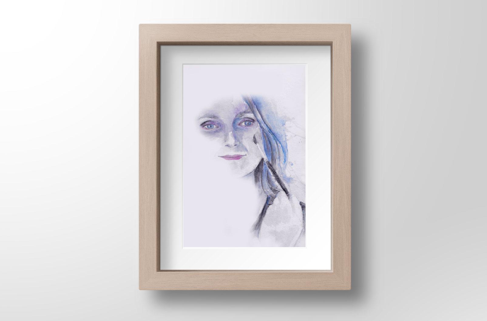 auto portrait à l'aquarelle