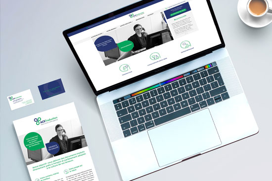 identité visuelle d'entreprise logo, carte de visite, papier en tête, plaquette commerciale, site internet