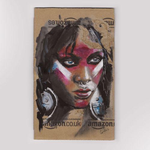 portrait peinture sur carton